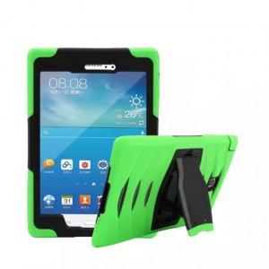 Противоударный двухкомпонентный силиконовый чехол с поликарбонатными вставками для экстрим защиты и встроенной ножкой-подставкой для Samsung Galaxy Tab A 8 Зеленый