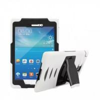 Противоударный двухкомпонентный силиконовый чехол с поликарбонатными вставками для экстрим защиты и встроенной ножкой-подставкой для Samsung Galaxy Tab A 8 Белый