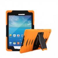 Противоударный двухкомпонентный силиконовый чехол с поликарбонатными вставками для экстрим защиты и встроенной ножкой-подставкой для Samsung Galaxy Tab A 8 Оранжевый