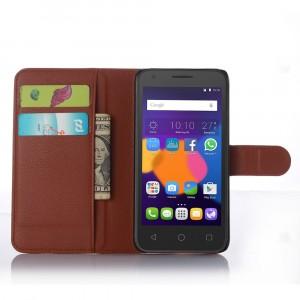 Чехол портмоне подставка с защелкой для Alcatel One Touch POP 3 5 Коричневый
