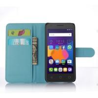 Чехол портмоне подставка с защелкой для Alcatel One Touch POP 3 5 Голубой