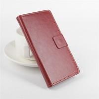 Глянцевый чехол портмоне подставка на силиконовой основе с защелкой с отделением для карт для Alcatel One Touch Pixi 3 (4.5) Коричневый