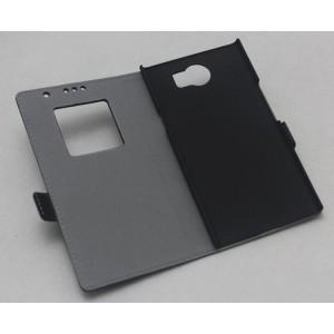Кожаный чехол флип подставка на пластиковой основе с окном вызова для Blackberry Priv Черный