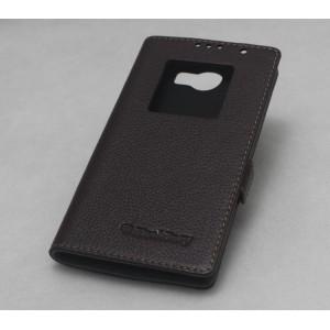 Кожаный чехол флип подставка на пластиковой основе с окном вызова для Blackberry Priv Коричневый