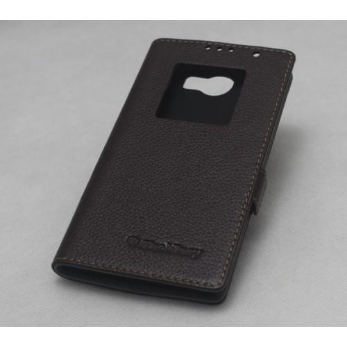Кожаный чехол флип подставка на пластиковой основе с окном вызова для Blackberry Priv