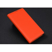 Кожаный чехол портмоне (нат. кожа) с крепежной застежкой для Blackberry Priv Оранжевый
