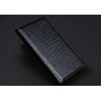 Кожаный чехол портмоне (нат. кожа крокодила) для Blackberry Priv Черный