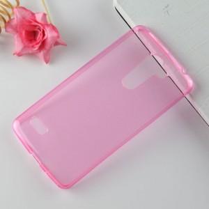 Силиконовый матовый полупрозрачный чехол для LG Ray Розовый