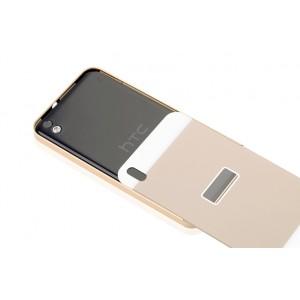 Двухкомпонентный чехол с металлическим бампером и поликарбонатной накладкой для HTC Desire 816 Бежевый