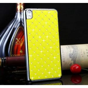 Чехол пластиковый с металлическим напылением и стразами для HTC Desire 816 Желтый