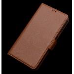 Кожаный чехол портмоне (нат. кожа) с крепежной застежкой для Philips S616