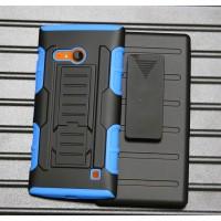 Антиударный гибридный чехол экстрим защита силикон/поликарбонат с подставкой для Nokia Lumia 730/735 Голубой