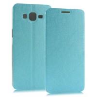 Чехол флип подставка на пластиковой основе с присоской текстура Линии для Samsung Galaxy A3 Голубой
