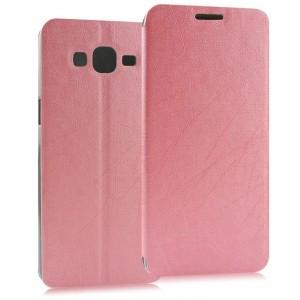 Чехол флип подставка на пластиковой основе с присоской текстура Линии для Samsung Galaxy A3 Розовый