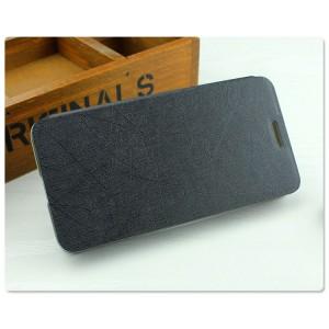Чехол флип подставка на пластиковой основе с присоской текстура Линии для Samsung Galaxy A3 Черный