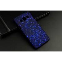 Пластиковый матовый дизайнерский чехол с голографическим принтом Звезды для Samsung Galaxy A3 Синий