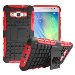 Антиударный гибридный чехол экстрим защита силикон/поликарбонат для Samsung Galaxy A3 Красный