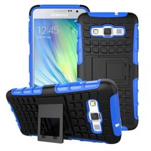 Антиударный гибридный чехол экстрим защита силикон/поликарбонат для Samsung Galaxy A3 Синий
