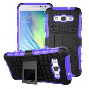 Антиударный гибридный чехол экстрим защита силикон/поликарбонат для Samsung Galaxy A3 Фиолетовый