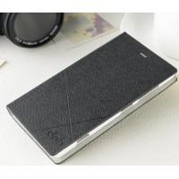Текстурный чехол флип на пластиковой основе с отделением для карт для Nokia Lumia 720 Черный