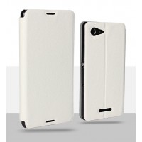 Чехол флип подставка на пластиковой основе для Sony Xperia E3 Белый