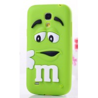 Силиконовый объемный M&M чехол для Samsung Galaxy S4 Mini Зеленый