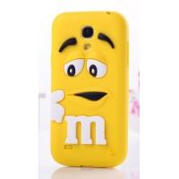 Силиконовый объемный M&M чехол для Samsung Galaxy S4 Mini Желтый