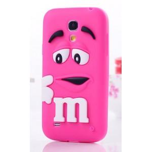 Силиконовый объемный M&M чехол для Samsung Galaxy S4 Mini Пурпурный