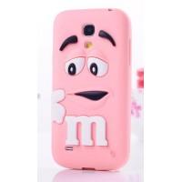 Силиконовый объемный M&M чехол для Samsung Galaxy S4 Mini Розовый