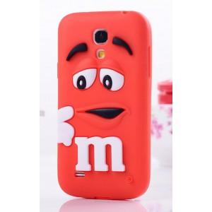 Силиконовый объемный M&M чехол для Samsung Galaxy S4 Mini Красный