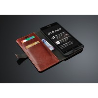 Глянцевый чехол портмоне подставка с защелкой для ASUS Zenfone 6 Коричневый