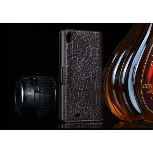 Кожаный чехол портмоне (нат. кожа крокодила) для Prestigio Multiphone Grace 7557