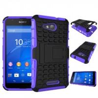 Антиударный гибридный чехол экстрим защита силикон/поликарбонат для Sony Xperia E4g Фиолетовый