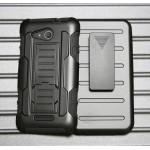 Антиударный гибридный силиконовый чехол с поликарбонатной крышкой и встроенной ножкой-подставкой для Sony Xperia E4g