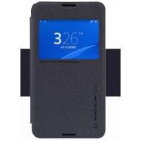 Чехол флип подставка с окном вызова на пластиковой матовой нескользящей премиум для Sony Xperia E4g Черный