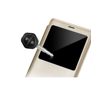 Чехол флип подставка текстурный с окном вызова для Lenovo Vibe P1m Бежевый