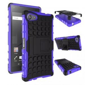 Антиударный гибридный чехол экстрим защита силикон/поликарбонат для Sony Xperia Z5 Compact Фиолетовый