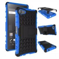 Антиударный гибридный чехол экстрим защита силикон/поликарбонат для Sony Xperia Z5 Compact Синий