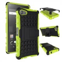 Антиударный гибридный чехол экстрим защита силикон/поликарбонат для Sony Xperia Z5 Compact Зеленый