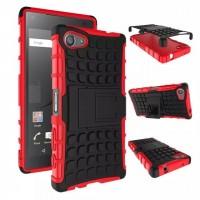 Антиударный гибридный чехол экстрим защита силикон/поликарбонат для Sony Xperia Z5 Compact Красный