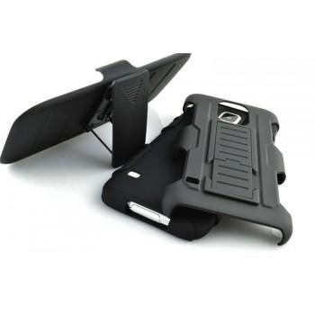 Антиударный гибридный силиконовый чехол с поликарбонатной крышкой и встроенной ножкой-подставкой для Sony Xperia Z5 Compact