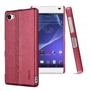Пластиковый дизайнерский чехол накладка с кожаным прошитым покрытием для Sony Xperia Z5 Compact Розовый