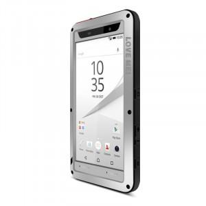 Антиударный пылевлагозащищенный гибридный премиум чехол силикон/металл/закаленное стекло для Sony Xperia Z5 Compact Серый