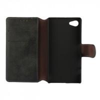Винтажный чехол портмоне подставка на пластиковой основе с защелкой для Sony Xperia Z5 Compact Черный
