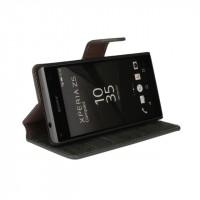 Винтажный чехол портмоне подставка на пластиковой основе с защелкой для Sony Xperia Z5 Compact Оранжевый
