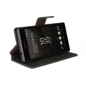 Винтажный чехол портмоне подставка на пластиковой основе с защелкой для Sony Xperia Z5 Compact