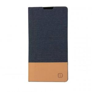 Текстурный чехол флип подставка на силиконовой основе с отделением для карты и тканевым покрытием для Sony Xperia Z5 Compact Синий