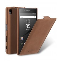 Кожаный чехол вертикальная книжка для Sony Xperia Z5 Premium Коричневый