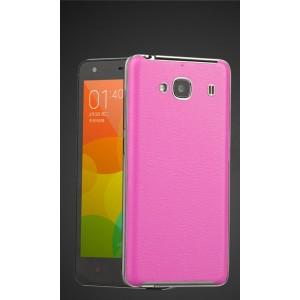 Встраиваемый чехол с текстурным покрытием Кожа для Xiaomi RedMi 2 Розовый