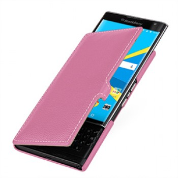 Кожаный чехол горизонтальная книжка (нат. кожа) с крепежной застежкой для Blackberry Priv